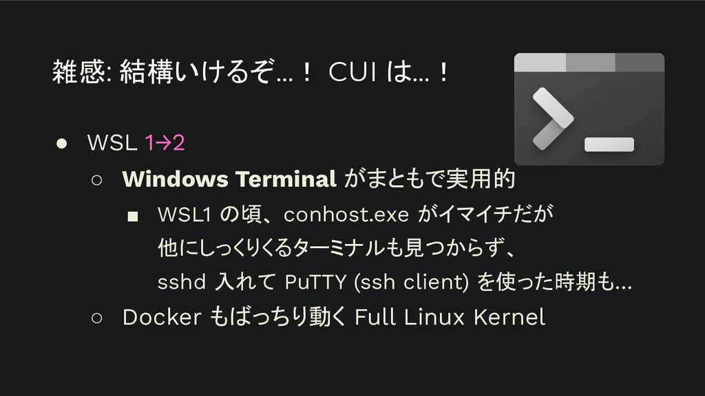 ● WSL 1→2 ○ Windows Terminal がまともで実用的 ■ WSL1 の頃...