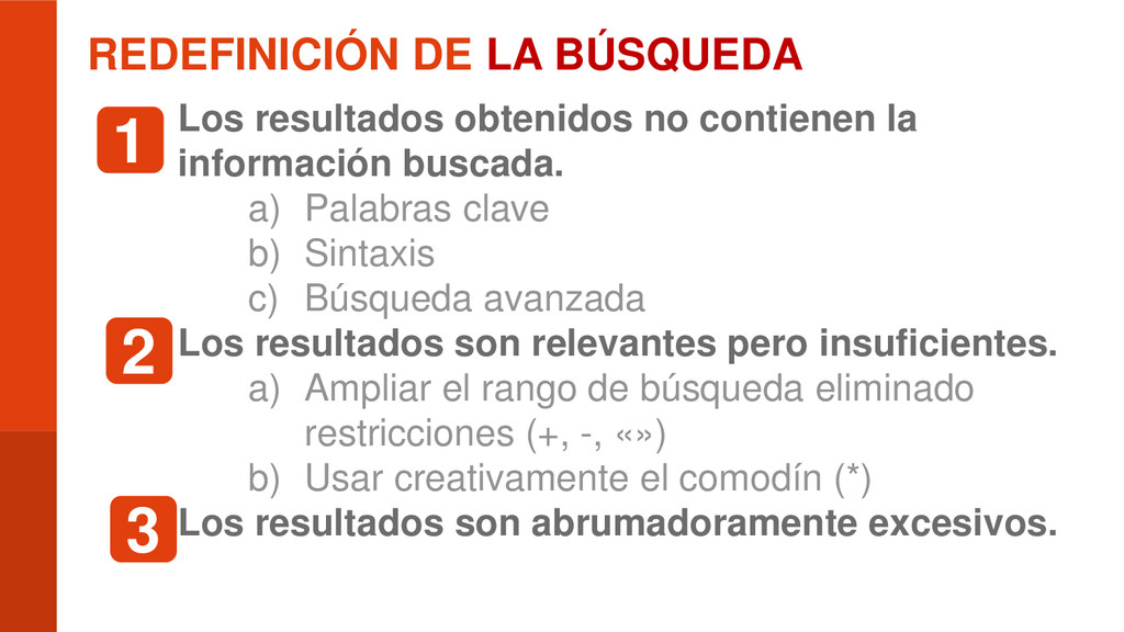 REDEFINICIÓN DE LA BÚSQUEDA  Los resultados ob...