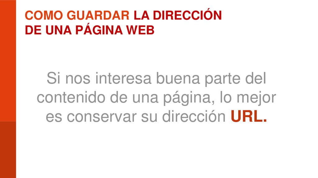 COMO GUARDAR LA DIRECCIÓN DE UNA PÁGINA WEB Si ...