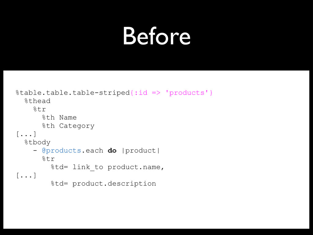 Before %table.table.table-striped{:id => 'produ...