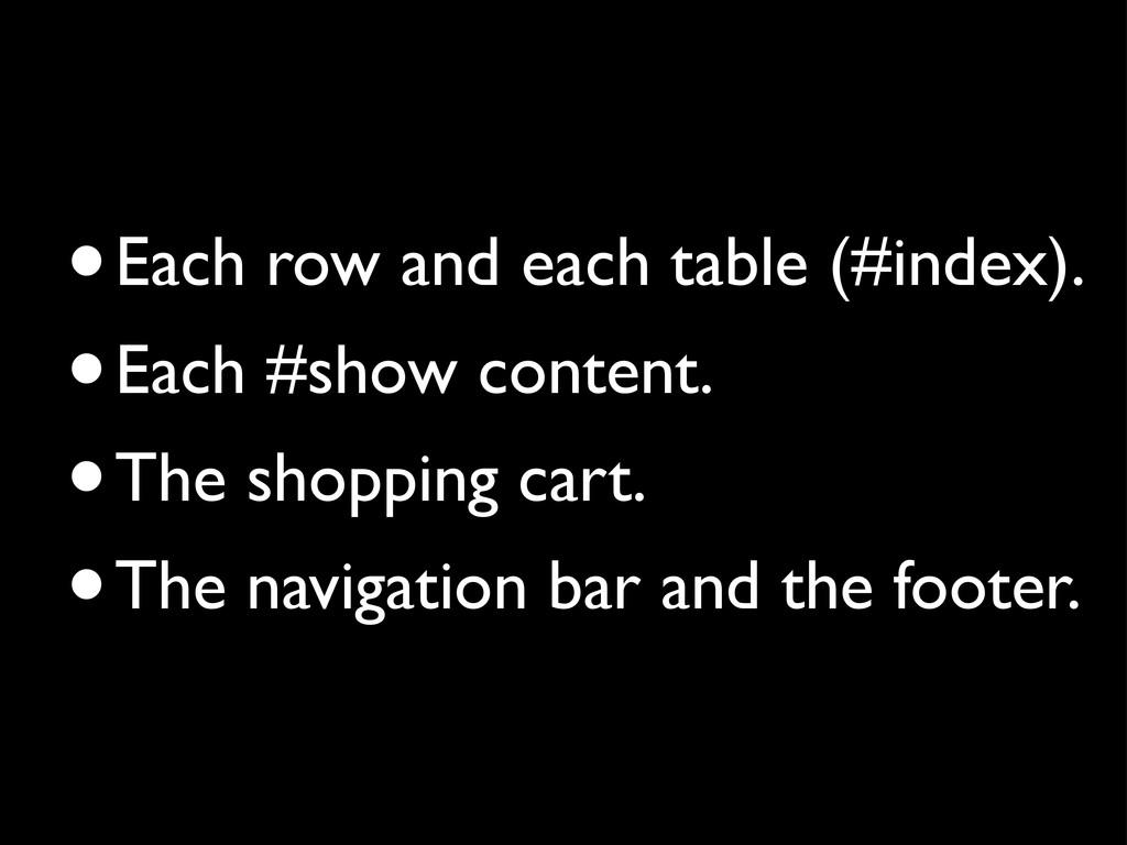 •Each row and each table (#index). •Each #show ...