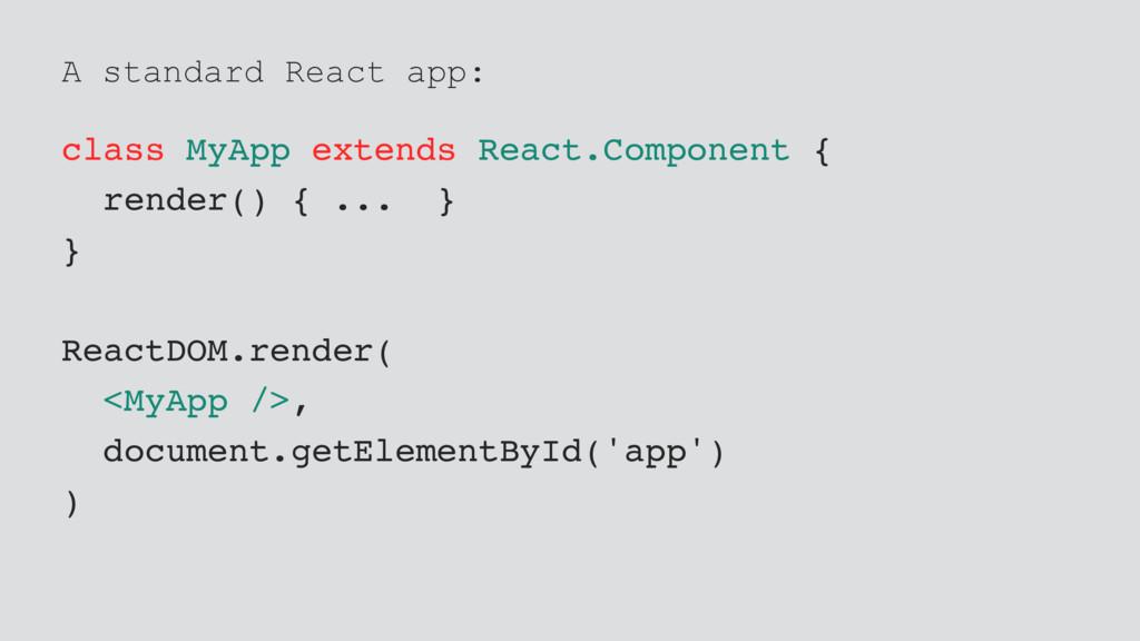 A standard React app: class MyApp extends React...