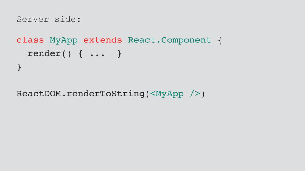 Server side: class MyApp extends React.Componen...