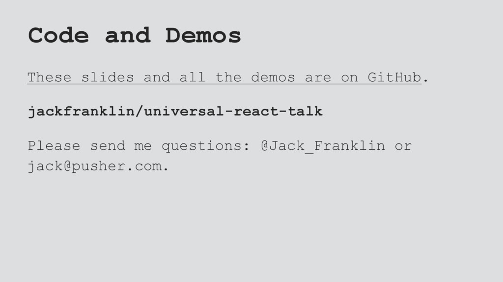 Code and Demos These slides and all the demos a...