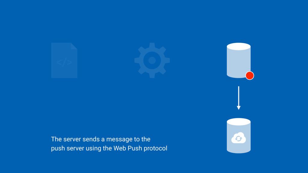 The server sends a message to the  push server...