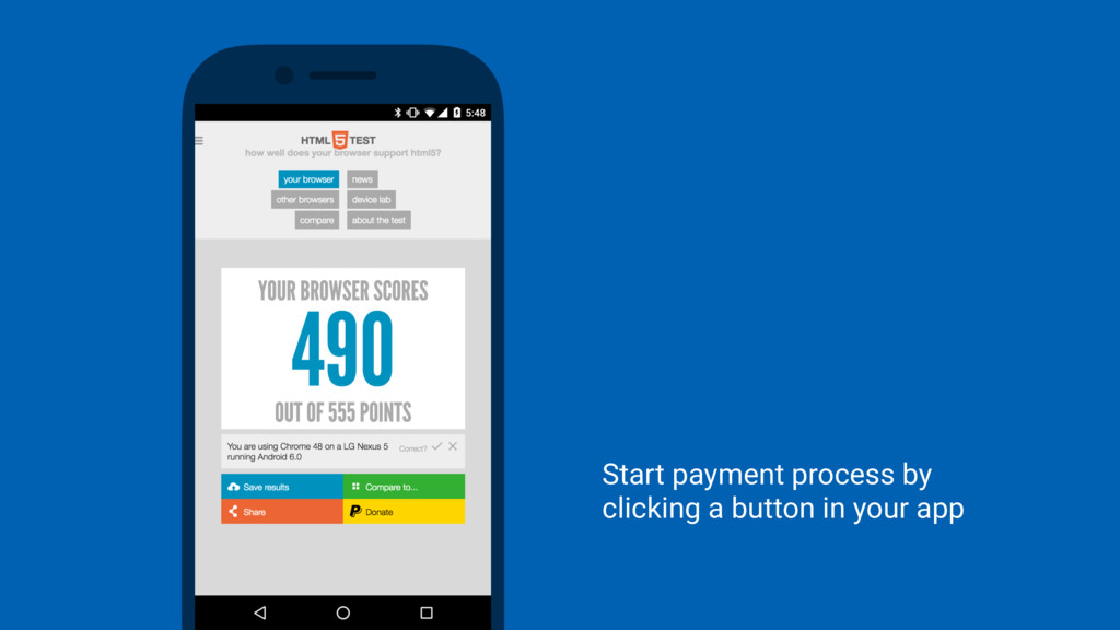 Start payment process by clicking a button in y...