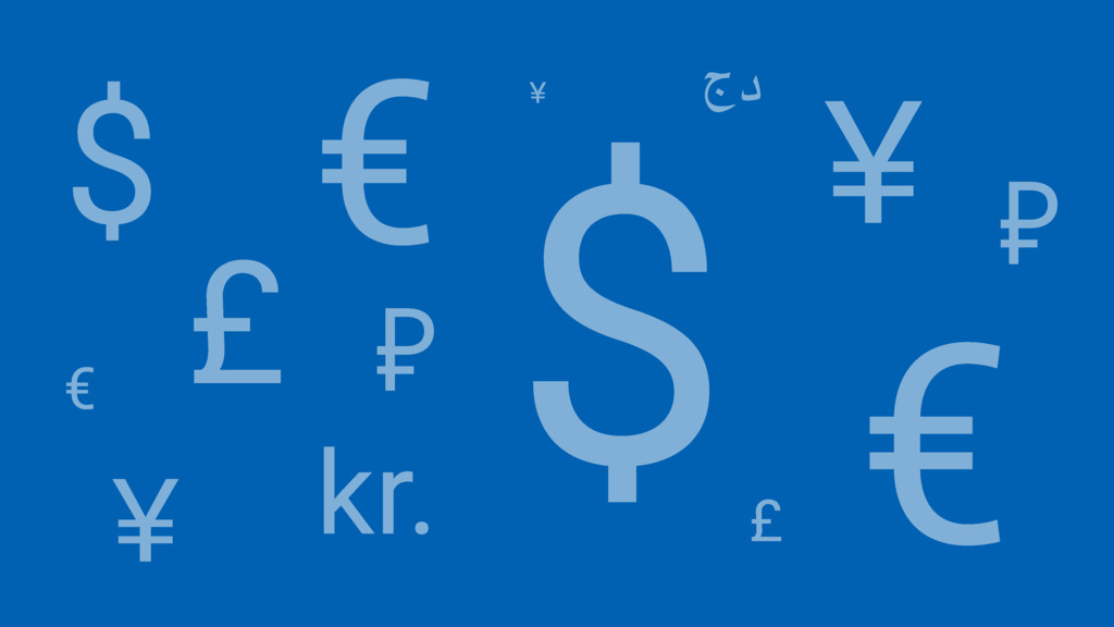$ € £ $ ¥ € ¥ £ kr. جد ₽ € ¥ ₽