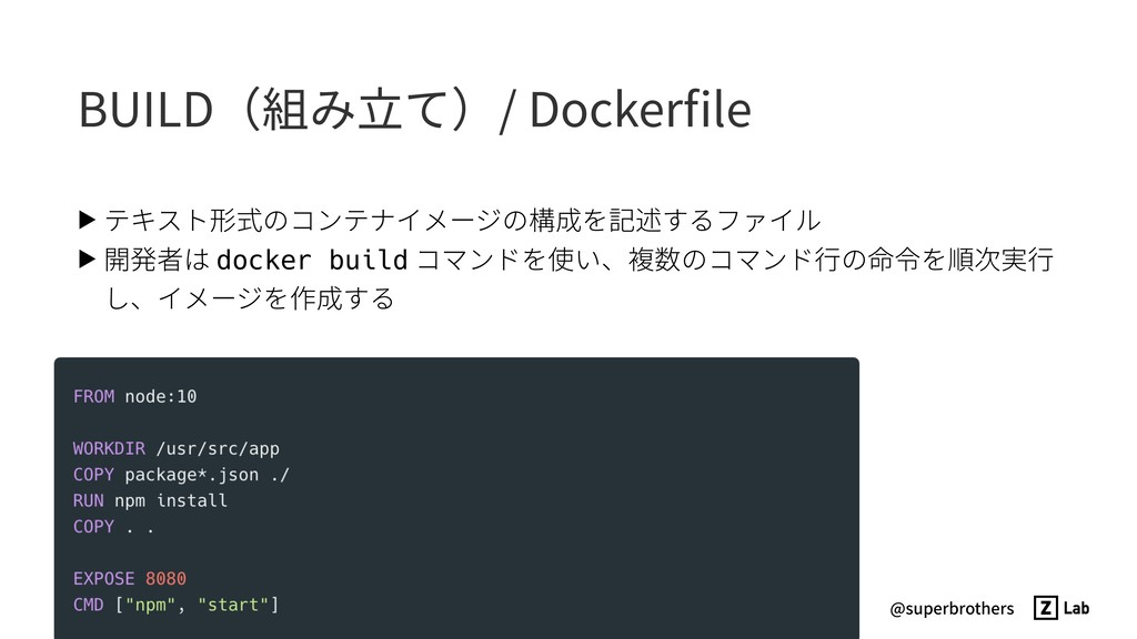 @superbrothers BUILD(組み⽴て)/ Dockerfile ▶ テキスト形式の...