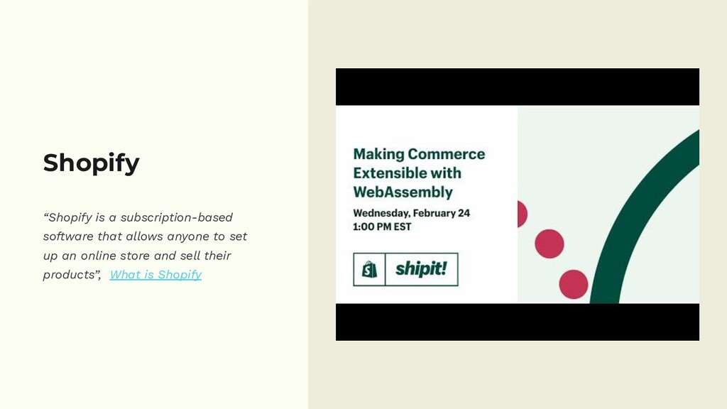 """Shopify """"Shopify is a subscription-based softwa..."""