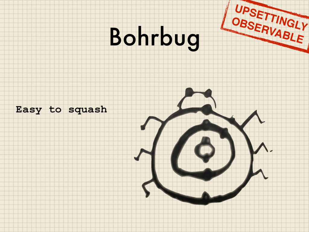 Bohrbug UPSETTINGLY OBSERVABLE Easy to squash