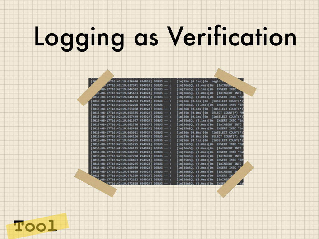 Logging as Verification Tool