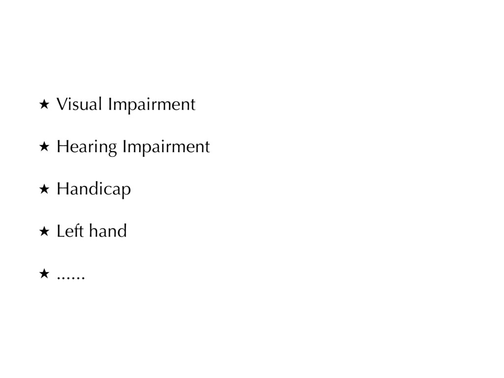 ★ Visual Impairment ★ Hearing Impairment ★ Hand...