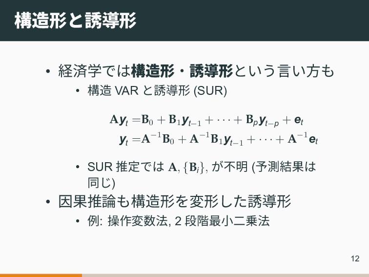 構造形と誘導形 • 経済学では構造形‧誘導形という言い方も • 構造 VAR と誘導形 (SU...