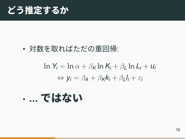 どう推定するか • 対数を取ればただの重回帰: ln Yi = ln α + βK ln Ki...