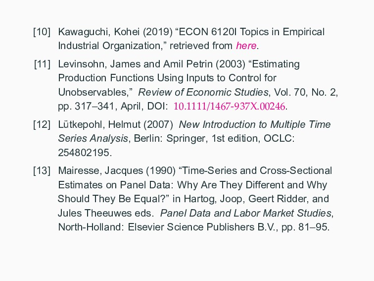"[10] Kawaguchi, Kohei (2019) ""ECON 6120I Topics..."