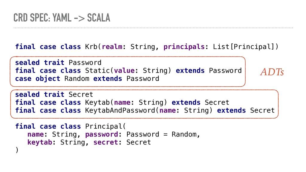 CRD SPEC: YAML -> SCALA final case class Krb(re...