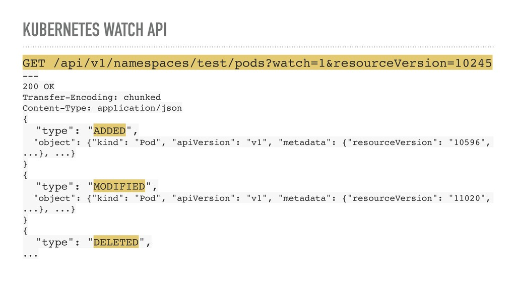 KUBERNETES WATCH API GET /api/v1/namespaces/tes...