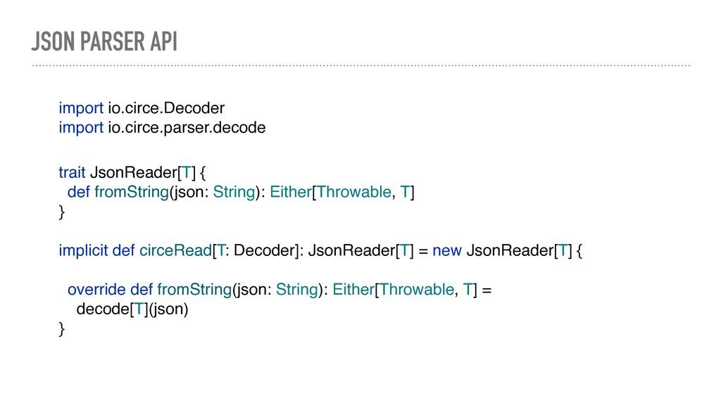 JSON PARSER API import io.circe.Decoder import ...