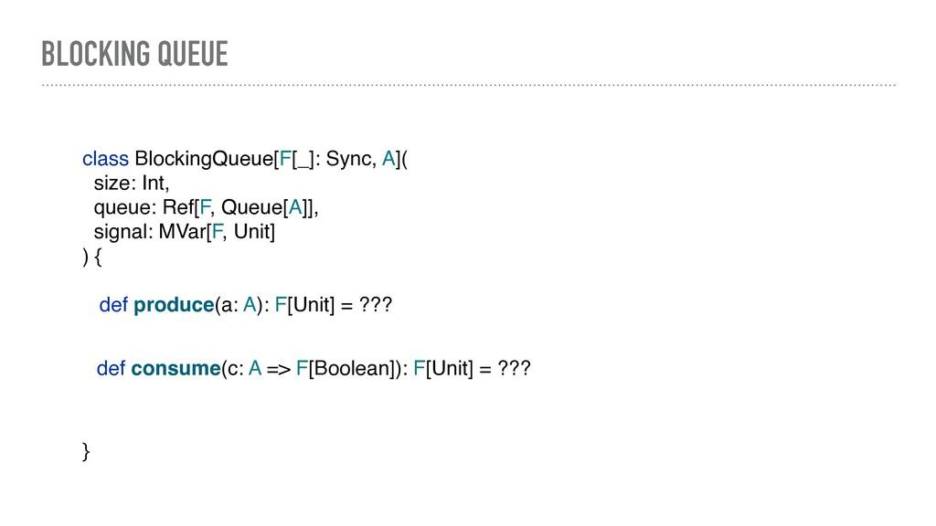 BLOCKING QUEUE class BlockingQueue[F[_]: Sync, ...