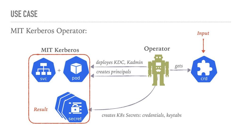 USE CASE MIT Kerberos Operator: deployes KDC, K...