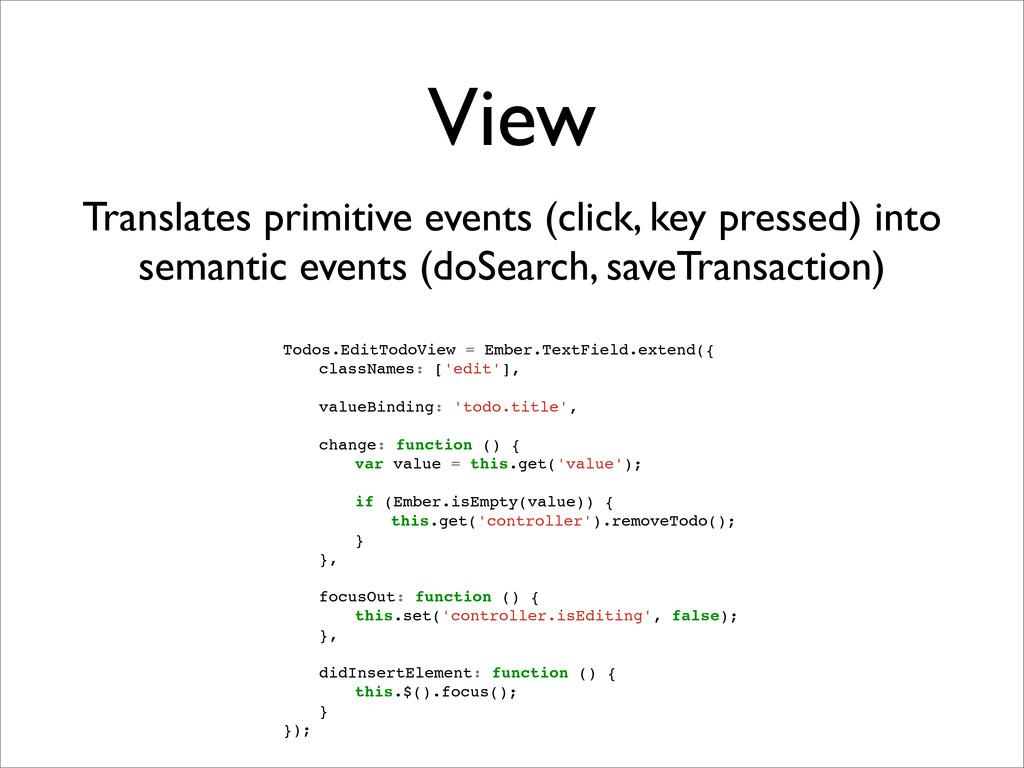 View Translates primitive events (click, key pr...