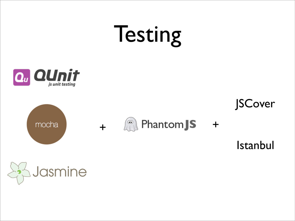 Testing + + JSCover Istanbul