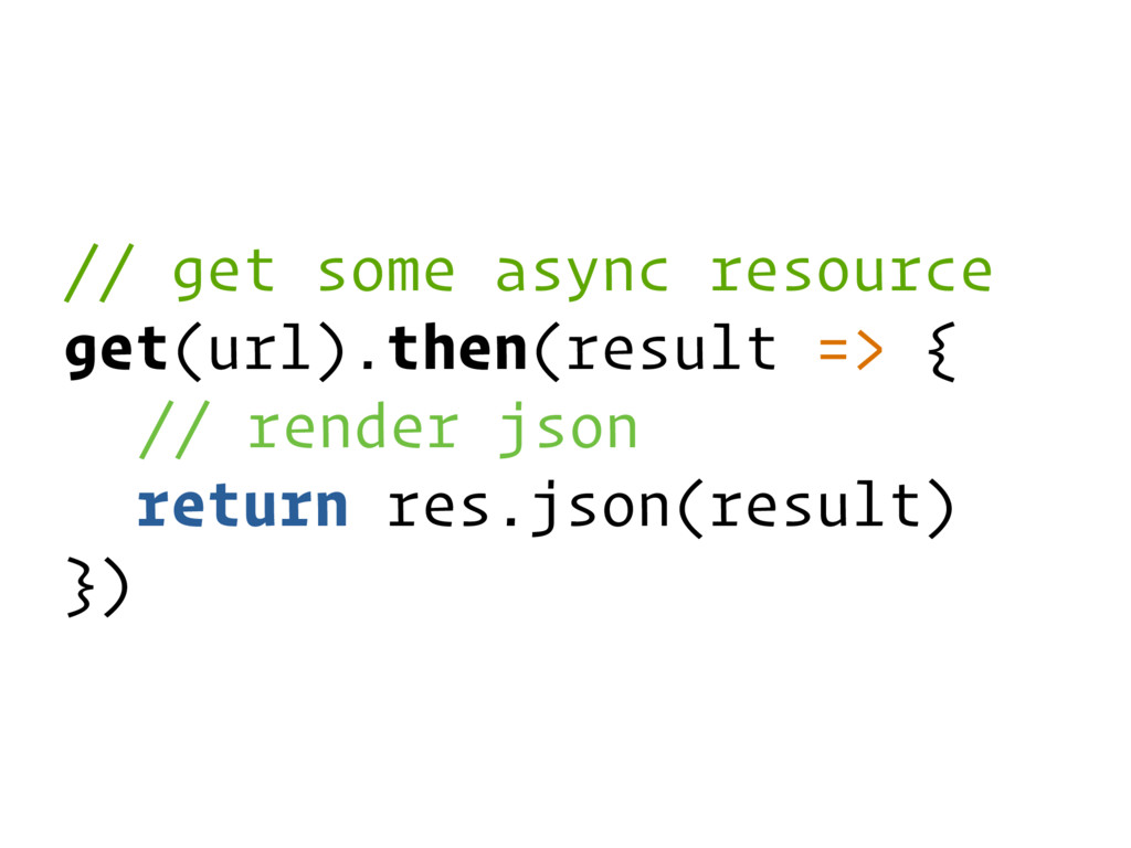 // get some async resource get(url).then(result...