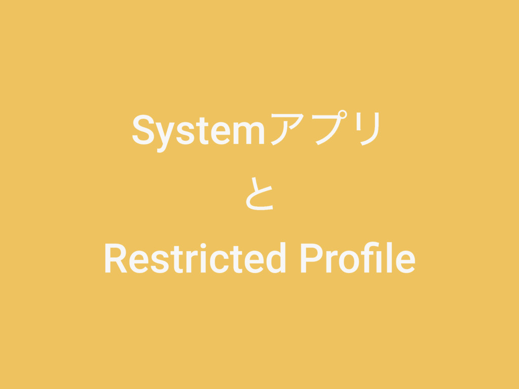 SystemΞϓϦ ͱ Restricted Profile
