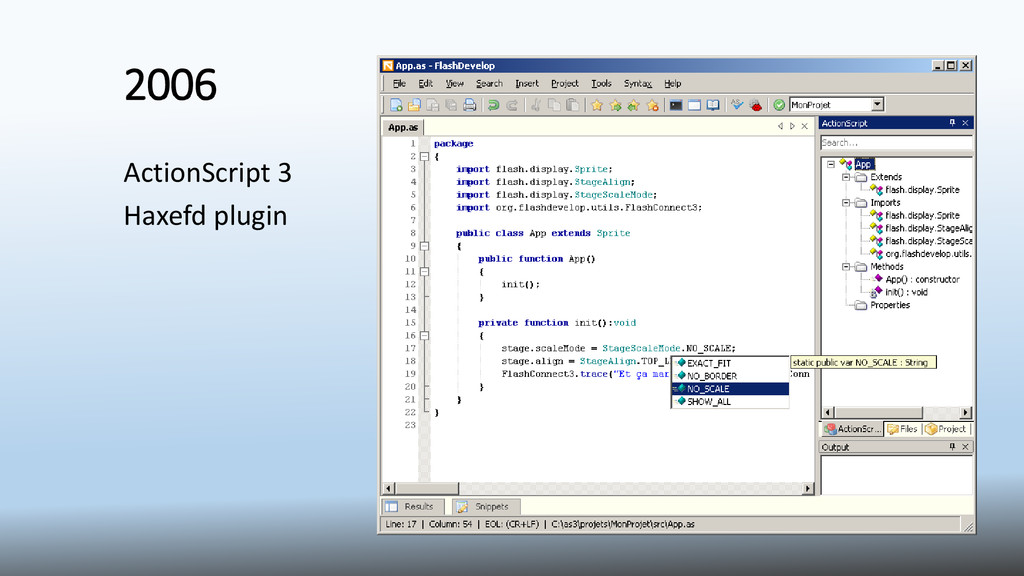 2006 ActionScript 3 Haxefd plugin