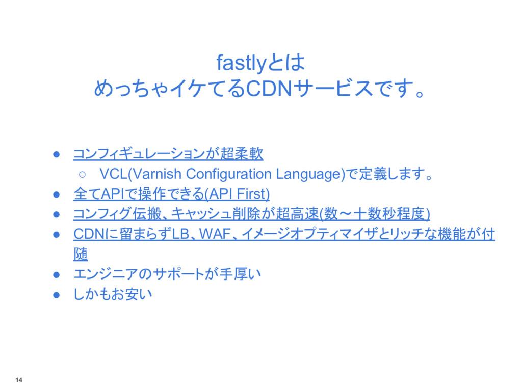 fastlyとは めっちゃイケてるCDNサービスです。 ● コンフィギュレーションが超柔軟 ○...