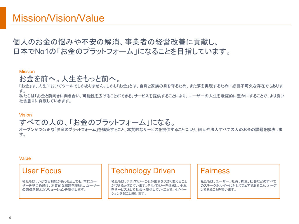 Mission/Vision/Value 個人のお金の悩みや不安の解消、事業者の経営改善に貢献...