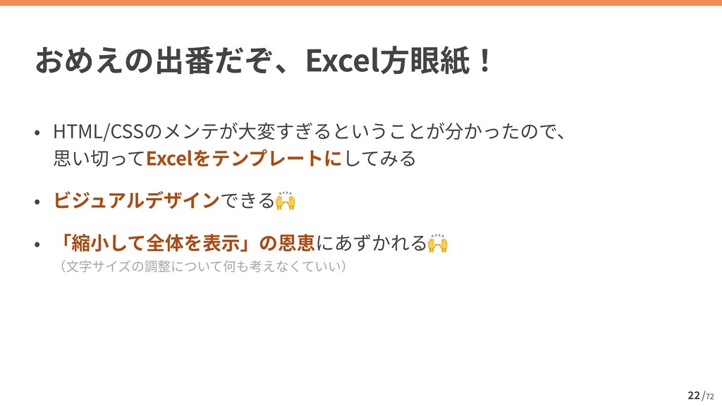 / 72 22 Excel HTML/CSS  Excel   🙌   🙌