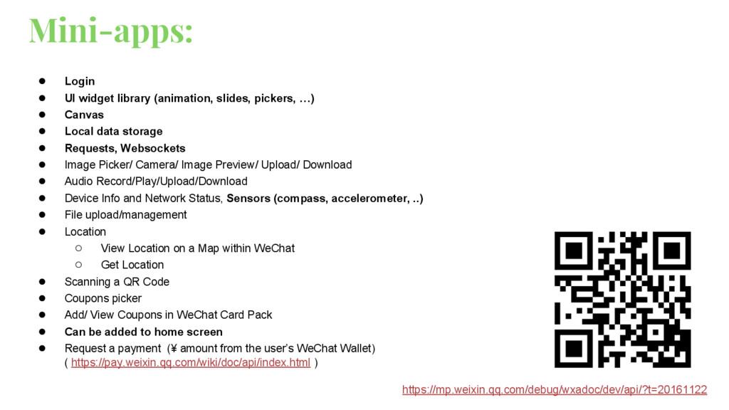 Mini-apps: ● Login ● UI widget library (animati...