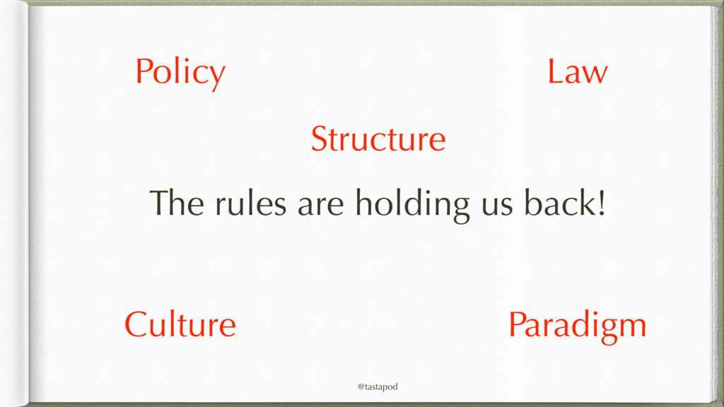 @tastapod The rules are holding us back! Policy...