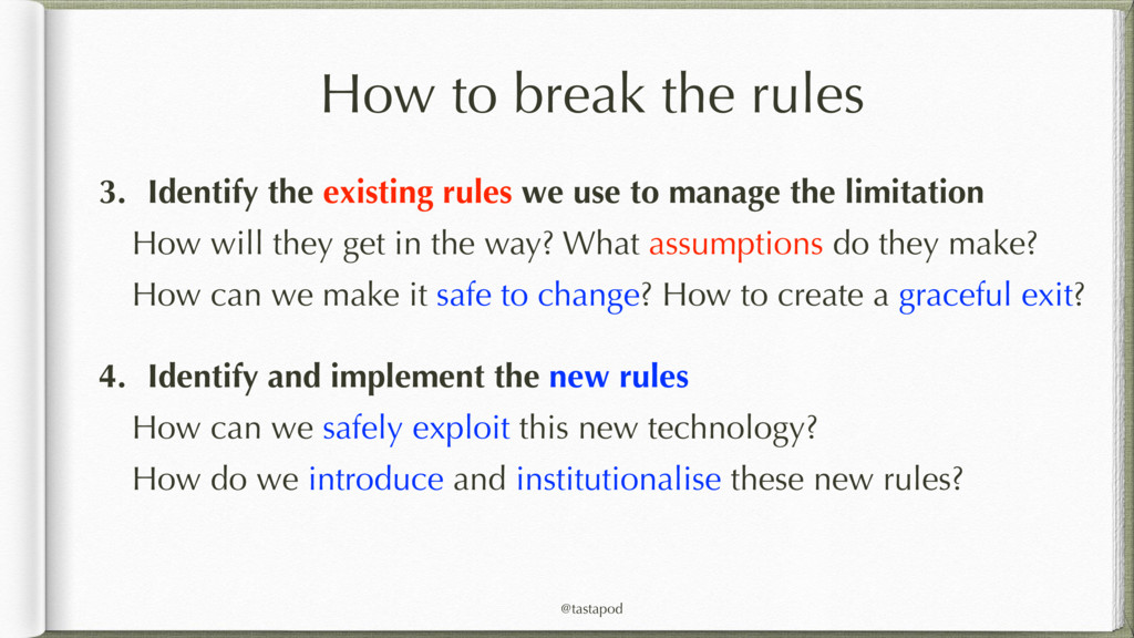 @tastapod How to break the rules 3. Identify th...