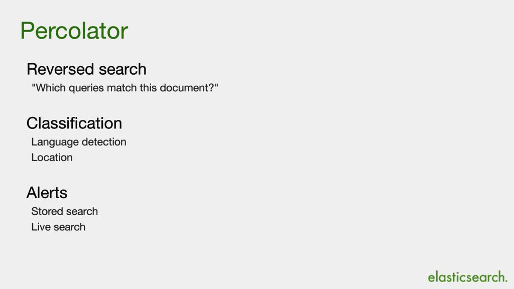 "Percolator Reversed search  ""Which queries matc..."