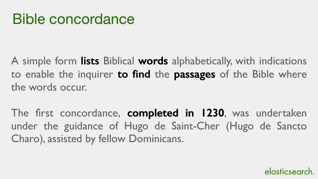 Bible concordance A simple form lists Biblical ...