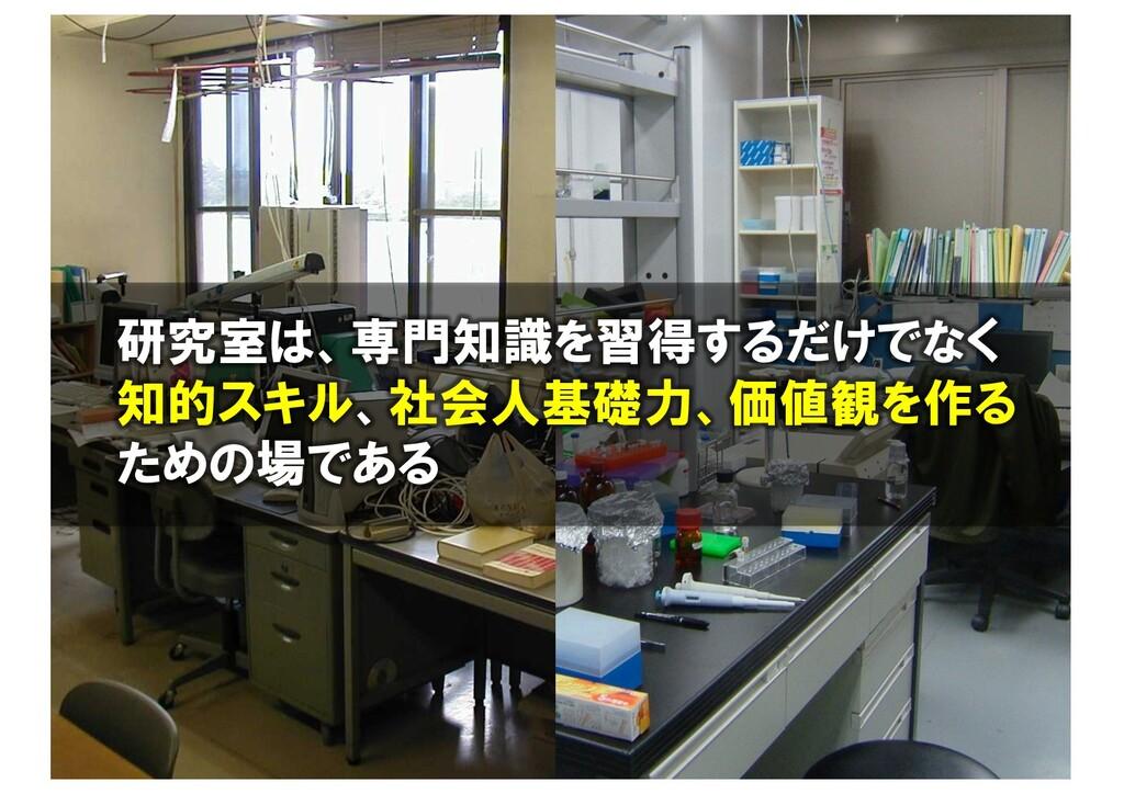 研究室って特別 研究室は、専門知識を習得するだけでなく 知的スキル、社会人基礎力、価値観を作る...