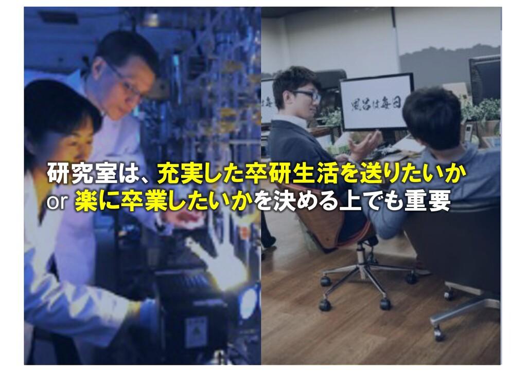 研究室は、充実した卒研生活を送りたいか or 楽に卒業したいかを決める上でも重要
