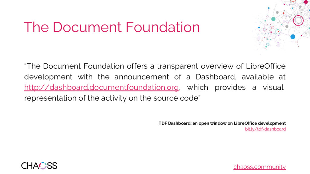 "chaoss.community The Document Foundation ""The D..."