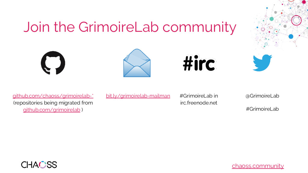 chaoss.community Join the GrimoireLab community...