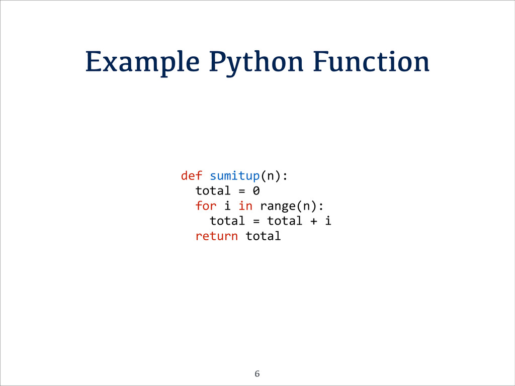 Example Python Function def	