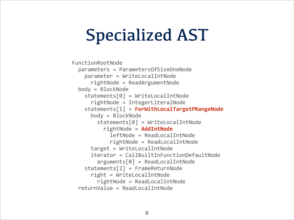 Specialized AST FunctionRootNode	