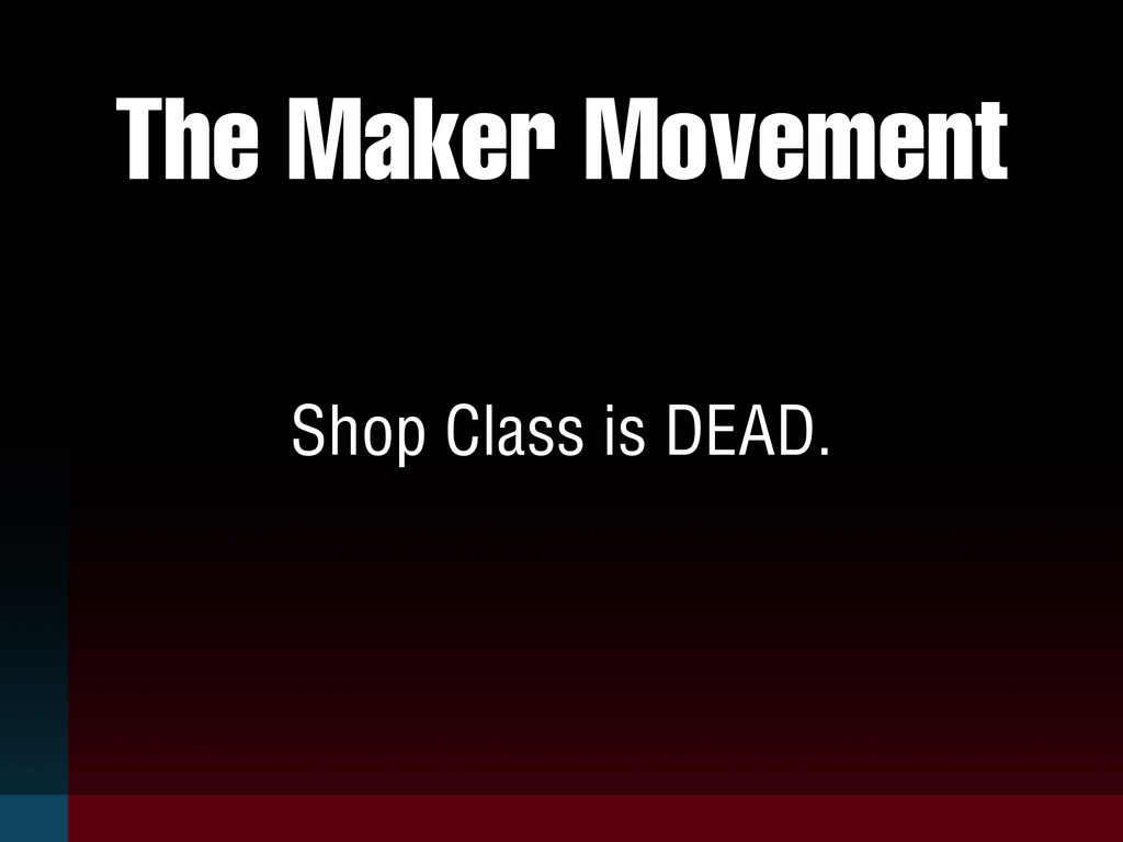 The Maker Movement Shop Class is DEAD.