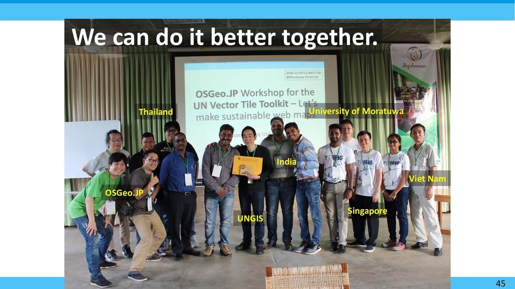 45 We can do it better together. OSGeo.JP Singa...
