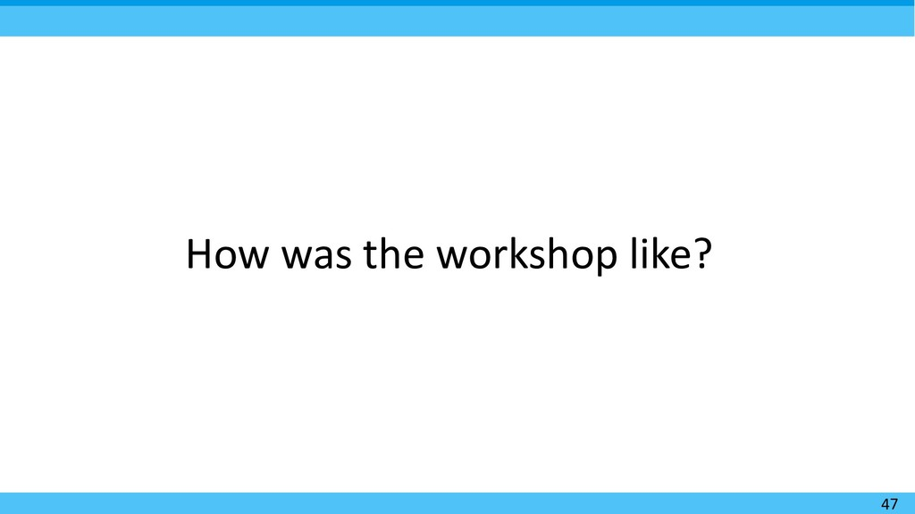 47 How was the workshop like?