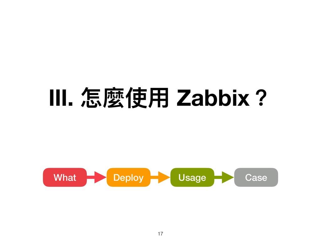 Ⅲ. 怎麼使⽤用 Zabbix? Usage What Deploy Case !17