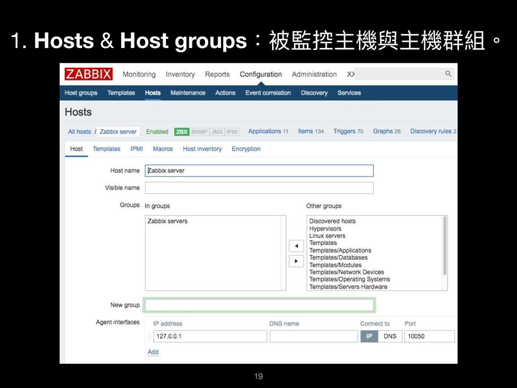 1. Hosts & Host groups:被監控主機與主機群組。 !19