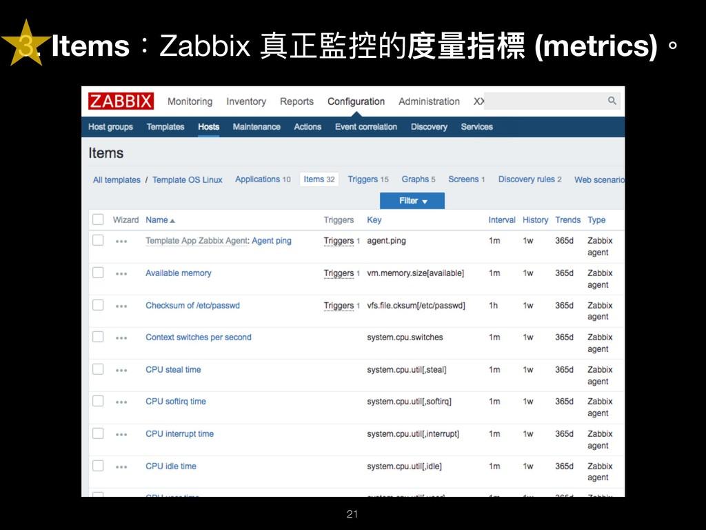 3. Items:Zabbix 真正監控的度量量指標 (metrics)。 !21