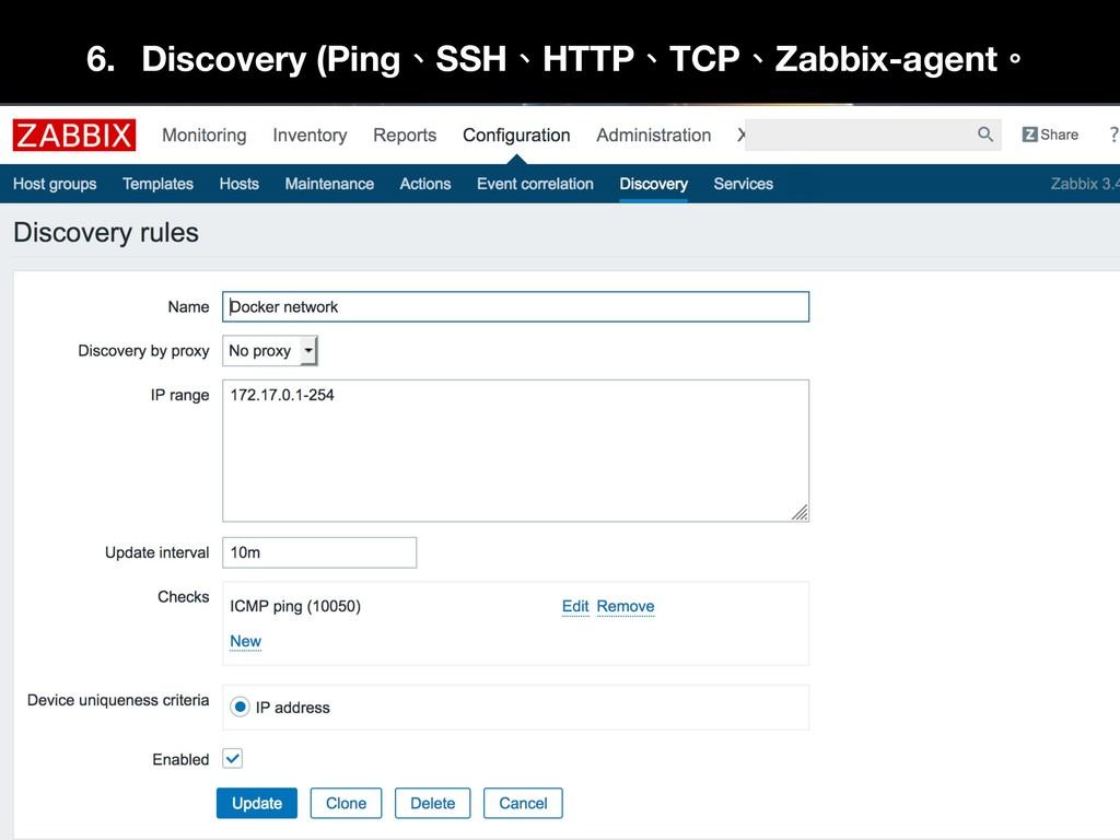 6. Discovery (Ping、SSH、HTTP、TCP、Zabbix-agent。 7.